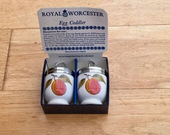 Royal Worcester Egg Coddlers Boxed Evesham Pattern with Plums and Blackberries Vintage Kitchen