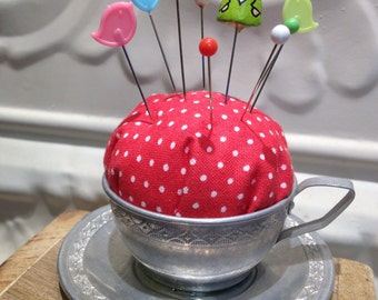 Cute Garden Gnome Pincushion in antique child's teacup - Great Valentine's Day Gift