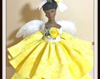 African American Angel of JOY, Black Angel, Yellow Gown, Mother's Day Gift Angel, OOAK Porcelain Handmade Angel, Yellow Home Decor