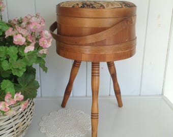Vintage Wooden Firkin Bucket Sewing Box Primitive Shaker Style Banded Sugar Bucket Pail Fabric Covered Lid with or without legs