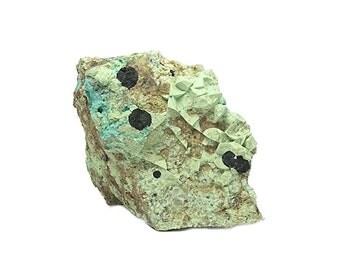Chrysocolla Green and Blue with Black Tenorite in Raw Natural Copper Rock Matrix Mineral Specimen mined at  Morenci Arizona