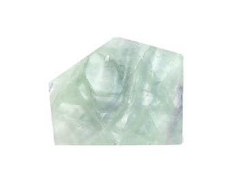 Fluorite Polished Green Crystalline Fluorite Semiprecious Gem Stone Slab Polygon Natural Earth Gemstone Carving Geo Earth Treasure IMPERFECT
