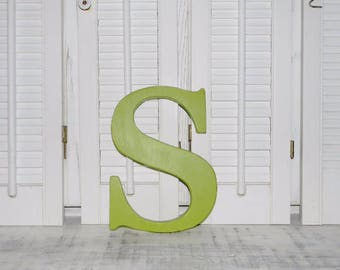 """Wooden Letter S Distressed Wood letters Made To order Any Letter 8"""" Letters SALE"""