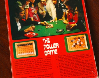 Vintage The Power Game boxed retro puzzle board game, 1970s strategy puzzle board game toy, 1975 birthday gift, retro graphic design