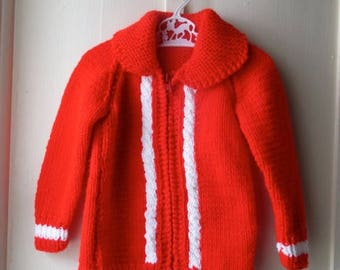 ON SALE Vintage bright red handknit sweater / 1970s red & white cableknit sweater jacket / Vintage knit jumper / toddler size 12 to 24 month