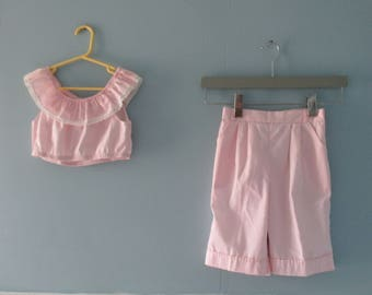1980's Pink Ruffle Crop Top and Pleated Dress Shorts Set / Pastel Pink Culottes and matching shirt / Pretty in Pink Outfit / Girl's Size 6