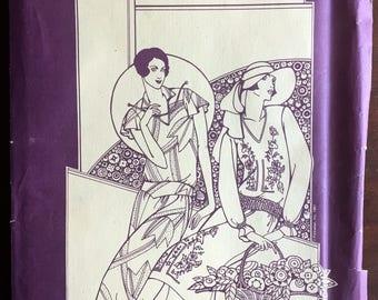 """1980's Folkwear of 1927 Tea Frock, Roaring 20's Drop Waist Dress Pattern - Bust 31.5-36"""" - UC/FF - No. 214"""