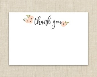 Baby shower thank you cards printable. Instant download. (floral A1)
