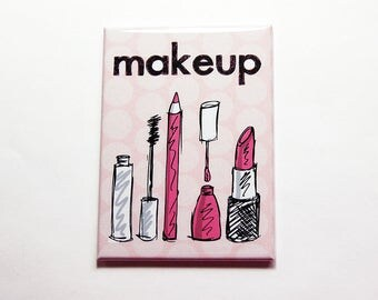 Makeup Mirror, Purse mirror, Large Pocket mirror, glass mirror, mirror, hand held mirror, rectangle mirror, pink mirror, polka dots (7450)