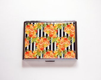 Floral cigarette case, Slim Cigarette Case, Cigarette box, Orange roses, Metal cigarette case, Flower cigarette case, black, orange (7677)
