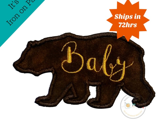 Baby bear silhouette iron on applique-large brown bear with gold script Baby machine embroidered fabric patch-DIY boutique fashions