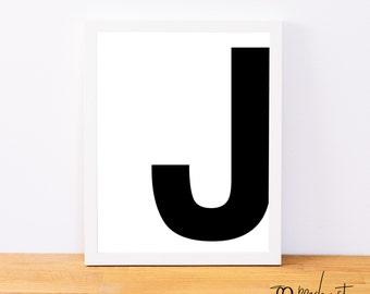Letter J Wall Art Printable Letter J  Etsy