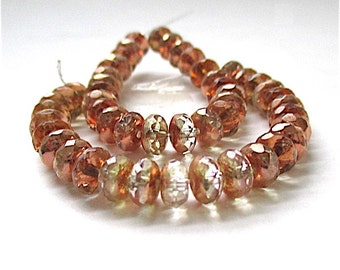 Copper Color Beads, 6mm x 4mm Czech Glass Crystal Rondelles, Faceted Beads, Sparkle Sparkly Spacer Beads  25 Pieces  SP762