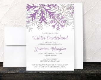 Winter Onederland Invitations Girl - Purple Silver and Gray Snowflakes on White - Winter 1st Birthday - Printed Invitations