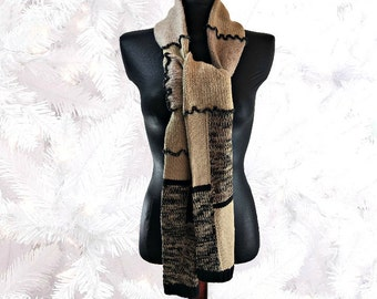 Upcycled Scarf, Unisex Scarf, Upcycled Clothing, Striped Scarf, Boho Sweater Scarf, OOAK Long Scarf, Winter Scarf, Gift for Her,Gift for Him