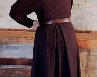 Vintage 70s dress, Boho Coat dress Deep,  Wine dark Coat, Maxi Coat Dress, Coat dress Glam Evening, Edwardian Style, Full Length Coat