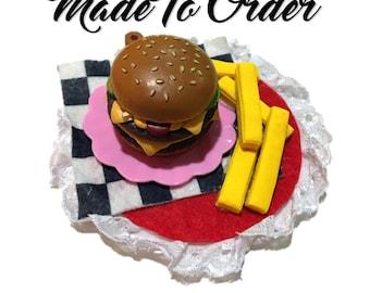 MADE TO ORDER Custom Retro Diner Burger Fascinator hair clip