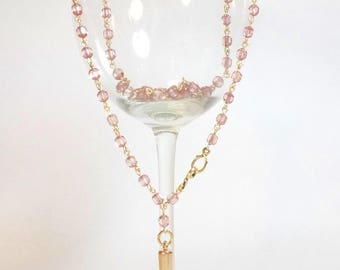 Pink Cathedral Crystal Bead Rosary Style Extra Long Necklace with Long Gold Spike