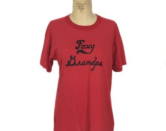 vintage 1970s Foxy Grandpa tee / red black / novelty t-shirt / vintage t-shirt / tag size x-large