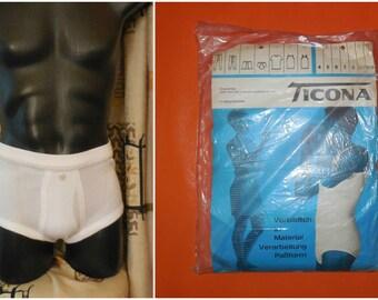 DEADSTOCK 1960s Men's Underwear White Cotton Ribbed Long Leg Briefs Ticona Tighty Whities Unworn German Cotton sz 7 M L