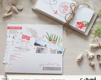 Destination Wedding Invitation Suite {Boarding Pass to 'I Do' - Sand Theme}