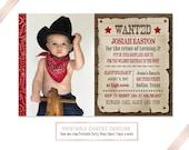 Cowboy Birthday Invitation - Wanted Poster - Cowboy Birthday - Cowboy Party - Western Birthday - Western Invitation - Printable Invitation