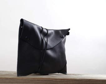 Black Leather Clutch -  Women's Leather Purse- Leather Clutch Purse - Plain Black Leather Clutch - Up-cycled Leather Clutch