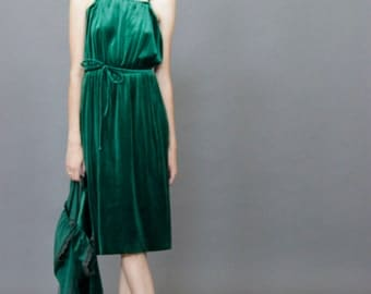 Green velvet 70s dress with matching belt and jacket S/M