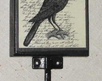 "Black Crow Raven Print Wall Hook~Wood & Wrought Iron~Gothic~Creepy~Halloween~6"" High"