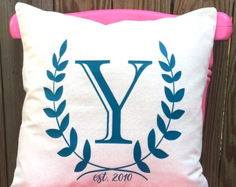Monogrammed Pillow Cover - Monogram Laurel Wreath Pillow Sham - Custom made Linen Pillow Cover  - Southern Girls Collection Design