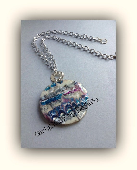 Large Pendant  Necklace, silver tone chain, metallic colors, Thermoplastic, OOAK, handmade in Greece
