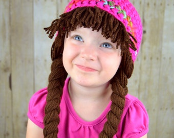 cabbage patch hat pigtail wig costume photo props halloween costume christmas hat - Cabbage Patch Halloween Costume For Baby
