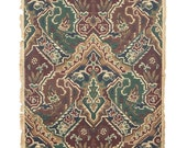 REMNANT of Vintage Wallpaper, Single 48 Inch Piece - Segmant of Antique Wallpaper with Brown Green Navy and Burgundy Geometric Design