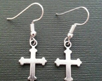 Silver Ornate Cross Earrings