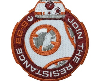 """BB-8 """"Join the Resistance"""" Iron-On Patch Star Wars Force Awakens Outfit Applique"""