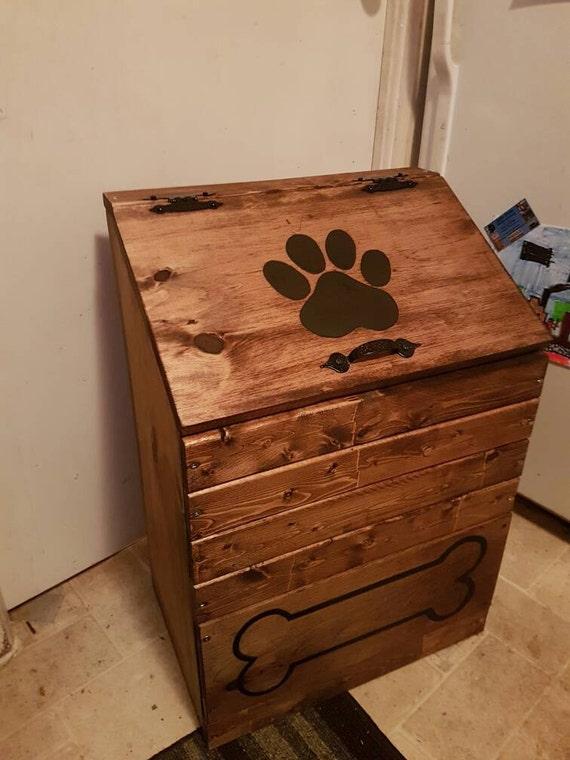 Large Wooden Dog Food Storage Container Dog Food Bin Pet