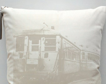 "20"" vintage Chicago transit pillow"