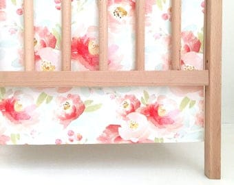 Crib Skirt Pink Plush Floral. Baby Bedding. Crib Bedding. Crib Skirt Girl. Baby Girl Nursery. Pink Floral Crib Skirt. Flower Crib Skirt.