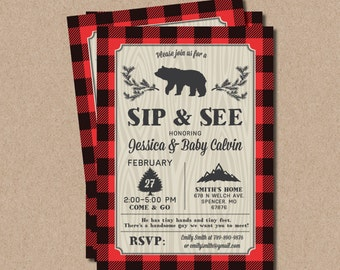 Lumberjack Sip and See Invitations boy Finley BC02 Digital or Printed