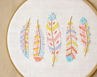 Boho, crafts, hand embroidery patterns, PDF, feather embroidery, boho nursery decor by NaiveNeedle