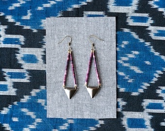 Purple Triangle Earrings, Ethnic Inspired