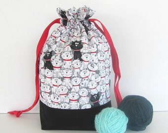 Socks Knitting Bag, Drawstring Project Tote Bag, Knitter's Gift - Black White Cats