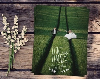 Love and Thanks Wedding Thank You Cards Custom