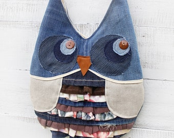 Owl Tote Messenger Bag Upcycled Handmade Unique - Ready to Ship