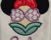 Ariel The little Mermaid inspired mouse ears machine embroidered shirt....birthday....Mermaid...Disney