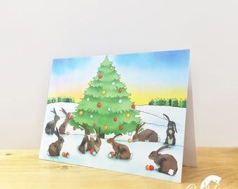 Christmas Bunny Rabbits Card