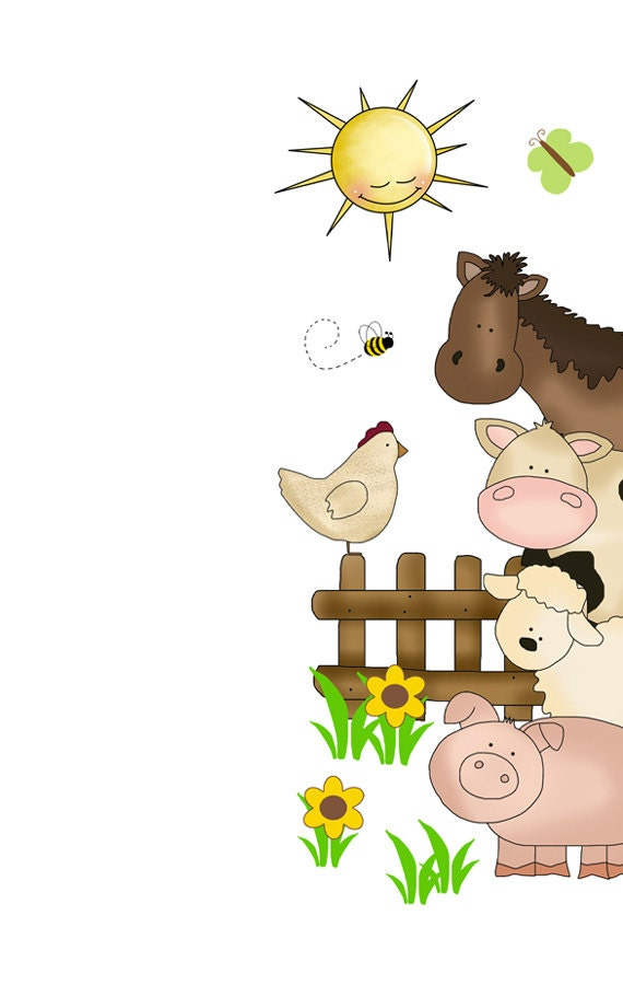 Farm nursery decor barnyard animals decal door wall art mural for Barnyard wall mural
