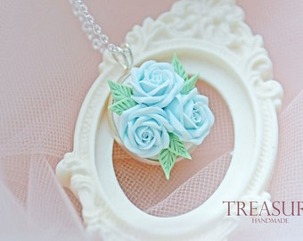 Blue rose necklace, blue flower necklace, something blue, bridal necklace, blue roses necklace, roses something blue, blue flower jewelry