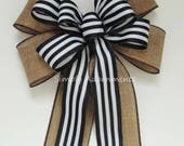 Black white stripes Wreath Bow Rustic Country Wedding Pew Bow Black white stripes burlap bow Door hanger Bow Bow Rustic Black Stripes Bow