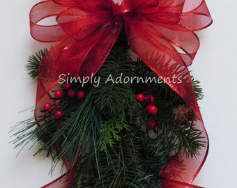 Metallic Red Christmas Bow Traditional Red Christmas Wreath Bow Red Teardrop Swag Bow Red Christmas Garland Bows Winter Holidays Gifts Bow